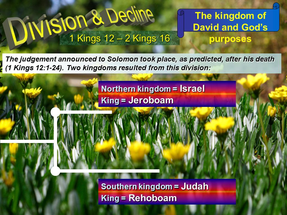 1 Kings 12 – 2 Kings 16 The kingdom of David and God's purposes The judgement announced to Solomon took place, as predicted, after his death (1 Kings