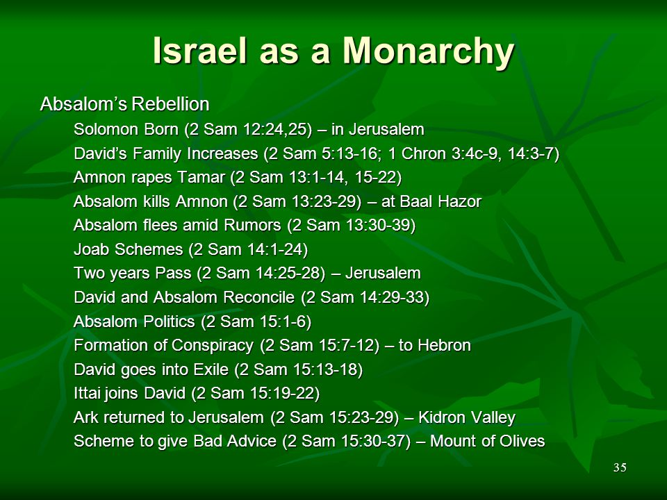 35 Israel as a Monarchy Absalom's Rebellion Solomon Born (2 Sam 12:24,25) – in Jerusalem David's Family Increases (2 Sam 5:13-16; 1 Chron 3:4c-9, 14:3