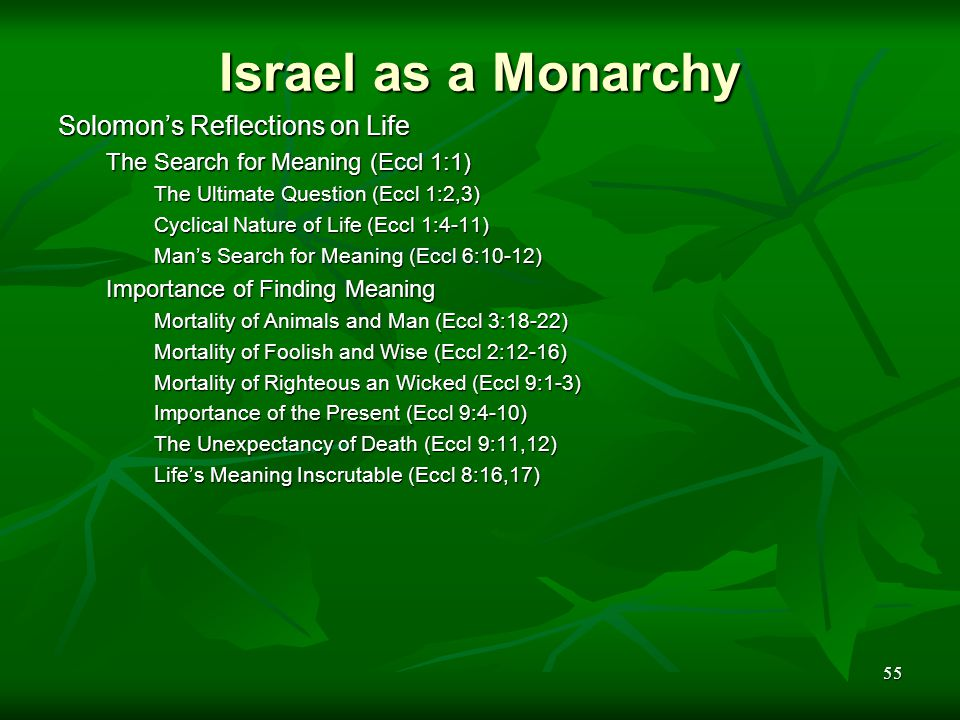 55 Israel as a Monarchy Solomon's Reflections on Life The Search for Meaning (Eccl 1:1) The Ultimate Question (Eccl 1:2,3) Cyclical Nature of Life (Ec