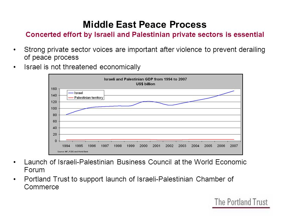 Middle East Peace Process Concerted effort by Israeli and Palestinian private sectors is essential Strong private sector voices are important after violence to prevent derailing of peace process Israel is not threatened economically Launch of Israeli-Palestinian Business Council at the World Economic Forum Portland Trust to support launch of Israeli-Palestinian Chamber of Commerce