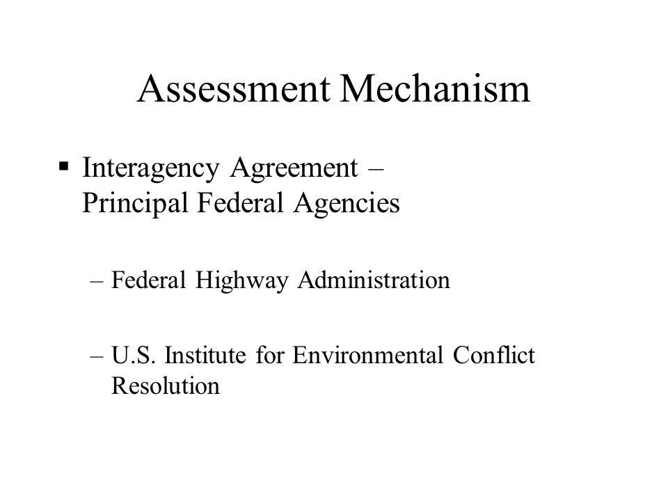 Assessment Mechanism  Interagency Agreement – Principal Federal Agencies –Federal Highway Administration –U.S.