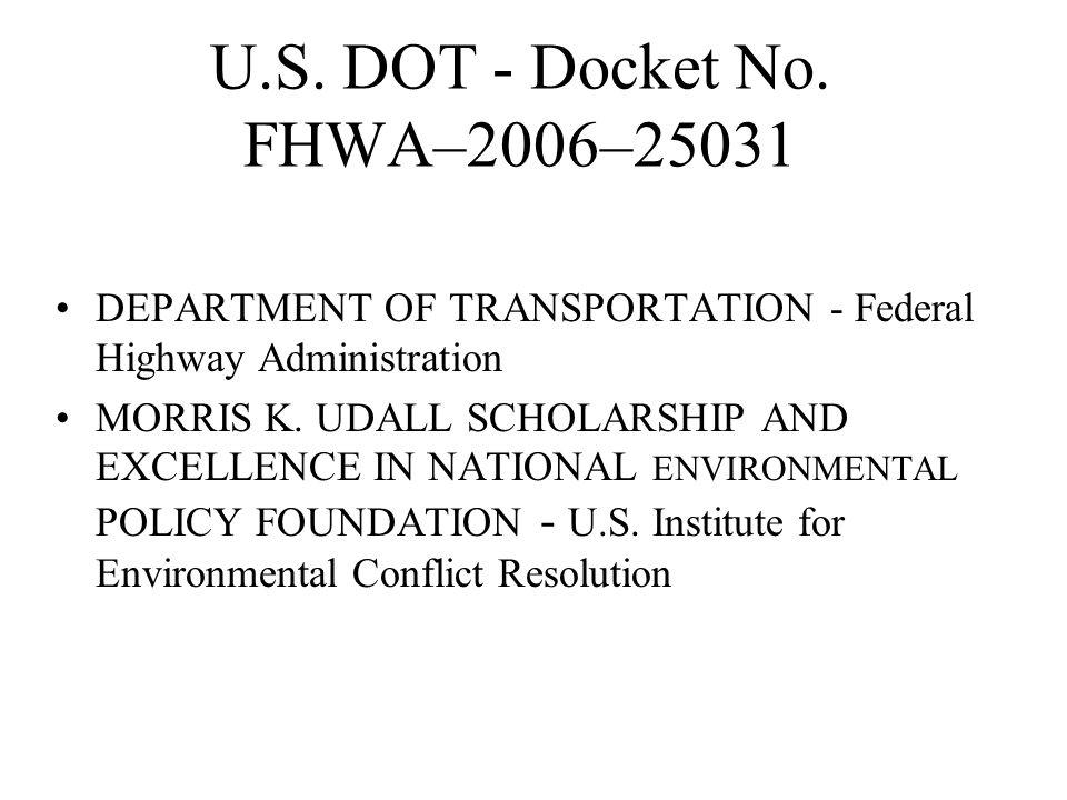 U.S. DOT - Docket No.