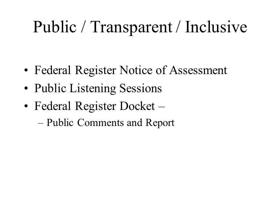 Public / Transparent / Inclusive Federal Register Notice of Assessment Public Listening Sessions Federal Register Docket – –Public Comments and Report