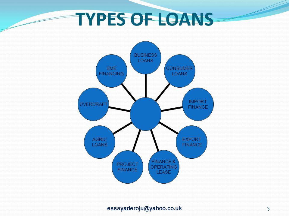 TYPES OF LOANS BUSINESS LOANS CONSUMER LOANS IMPORT FINANCE EXPORT FINANCE FINANCE & OPERATING LEASE PROJECT FINANCE AGRIC LOANS OVERDRAFT SME FINANCING essayaderoju@yahoo.co.uk 3