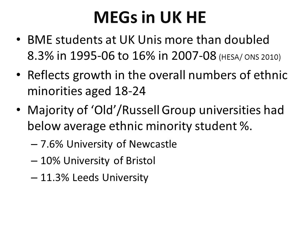 MEGs in UK HE BME students at UK Unis more than doubled 8.3% in 1995-06 to 16% in 2007-08 (HESA/ ONS 2010) Reflects growth in the overall numbers of ethnic minorities aged 18-24 Majority of 'Old'/Russell Group universities had below average ethnic minority student %.