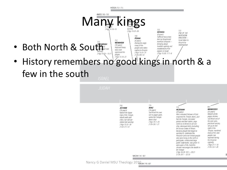 Many kings Both North & South History remembers no good kings in north & a few in the south Nancy G Daniel MSU Theology 2010