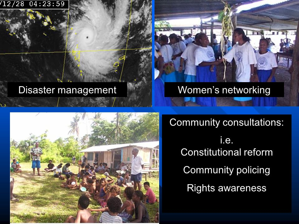 Disaster managementWomen's networking Community consultations: i.e.