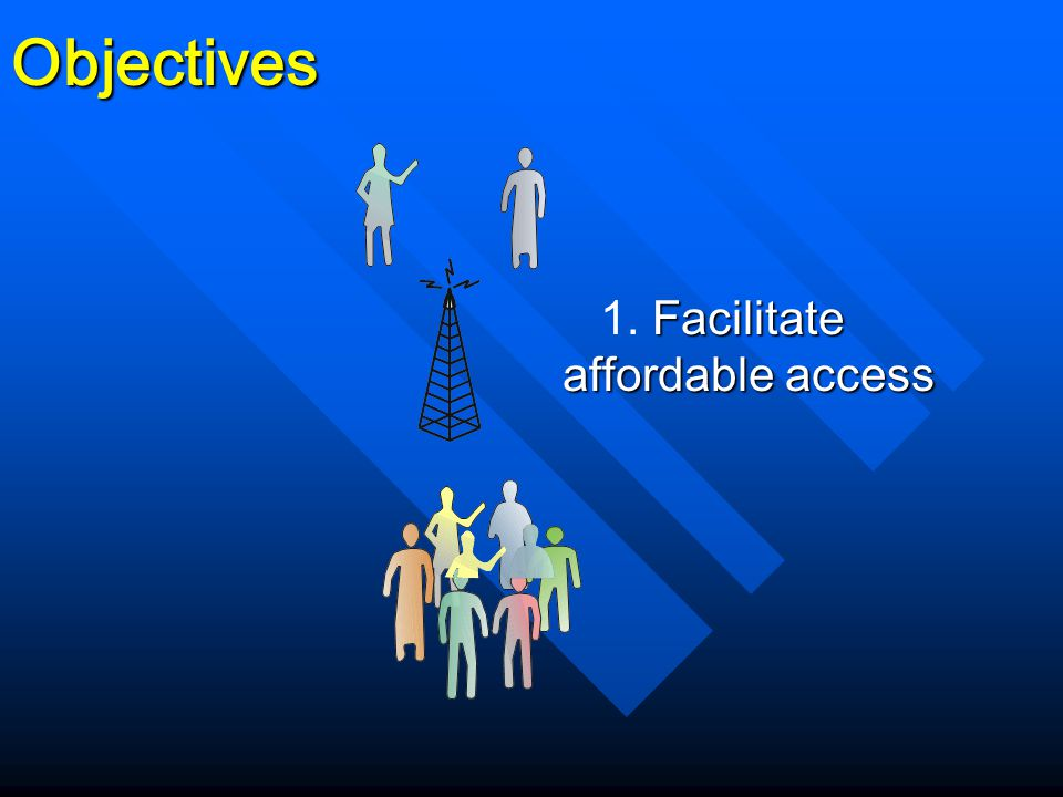 Facilitate affordable access 1. Facilitate affordable accessObjectives