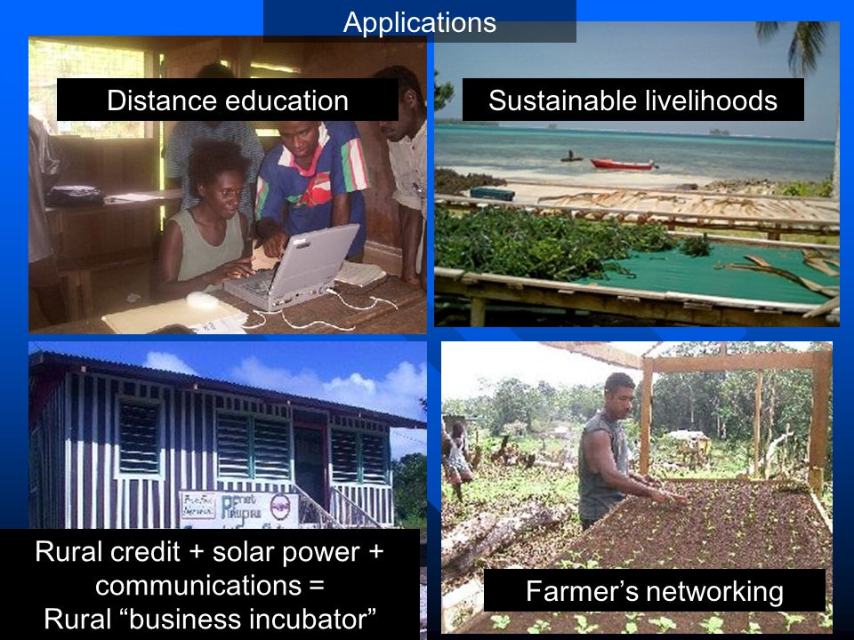 Distance educationSustainable livelihoods Rural credit + solar power + communications = Rural business incubator Farmer's networking Applications
