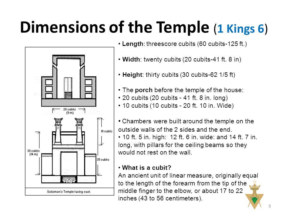 Dimensions of the Temple (1 Kings 6) 9 Length : threescore cubits (60 cubits-125 ft.) Width: twenty cubits (20 cubits-41 ft.