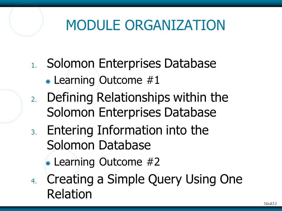 Mod J-4 MODULE ORGANIZATION 5.Creating an Advanced Query Using More than One Relation 6.