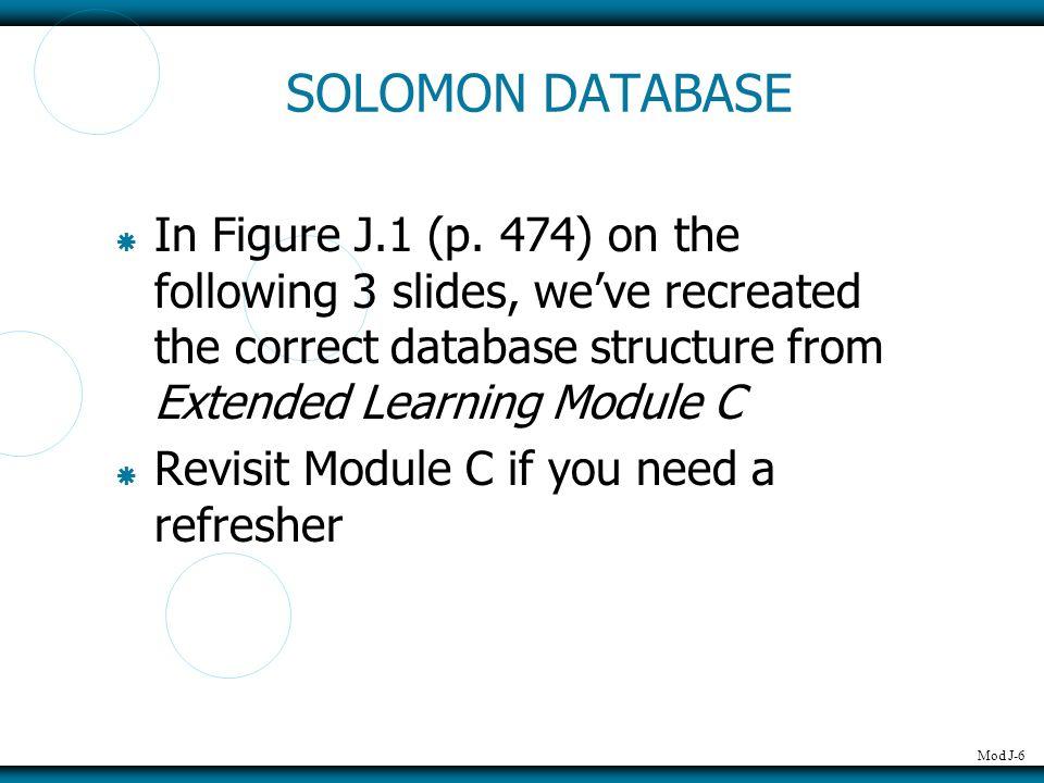 Mod J-7 SOLOMON DATABASE
