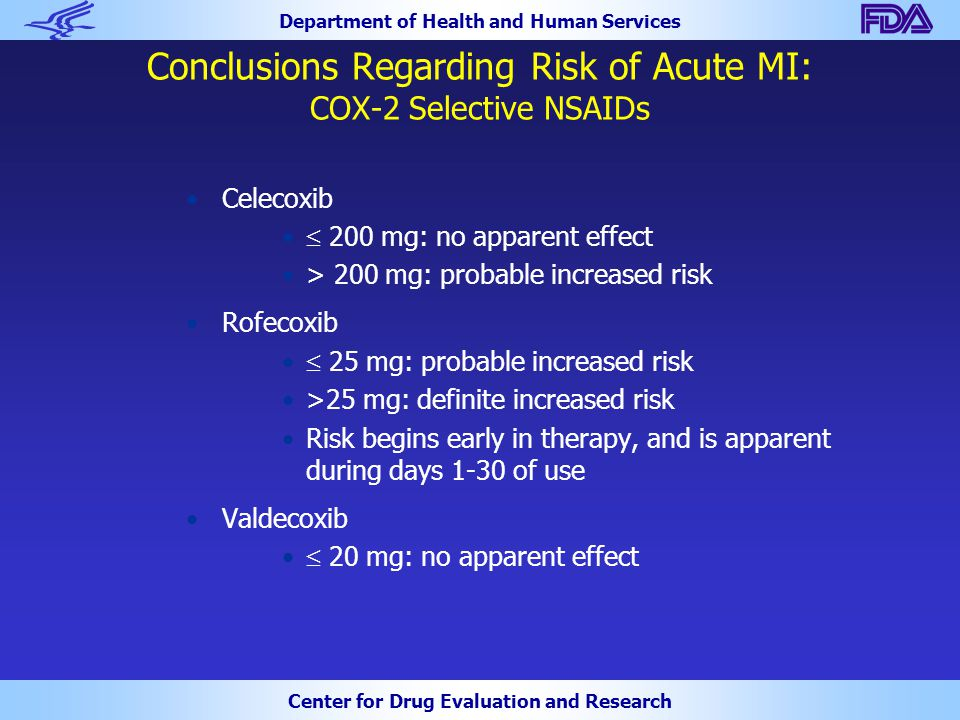 Department of Health and Human Services Center for Drug Evaluation and Research Conclusions Regarding Risk of Acute MI: COX-2 Selective NSAIDs Celecox