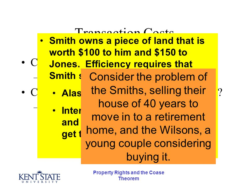 Property Rights and the Coase Theorem The Coase Theorem and Transaction Costs Can we lower Transaction Costs.