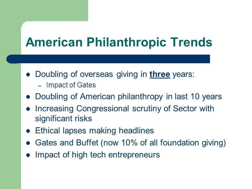 American Philanthropic Trends Doubling of overseas giving in three years: – Impact of Gates Doubling of American philanthropy in last 10 years Increasing Congressional scrutiny of Sector with significant risks Ethical lapses making headlines Gates and Buffet (now 10% of all foundation giving) Impact of high tech entrepreneurs