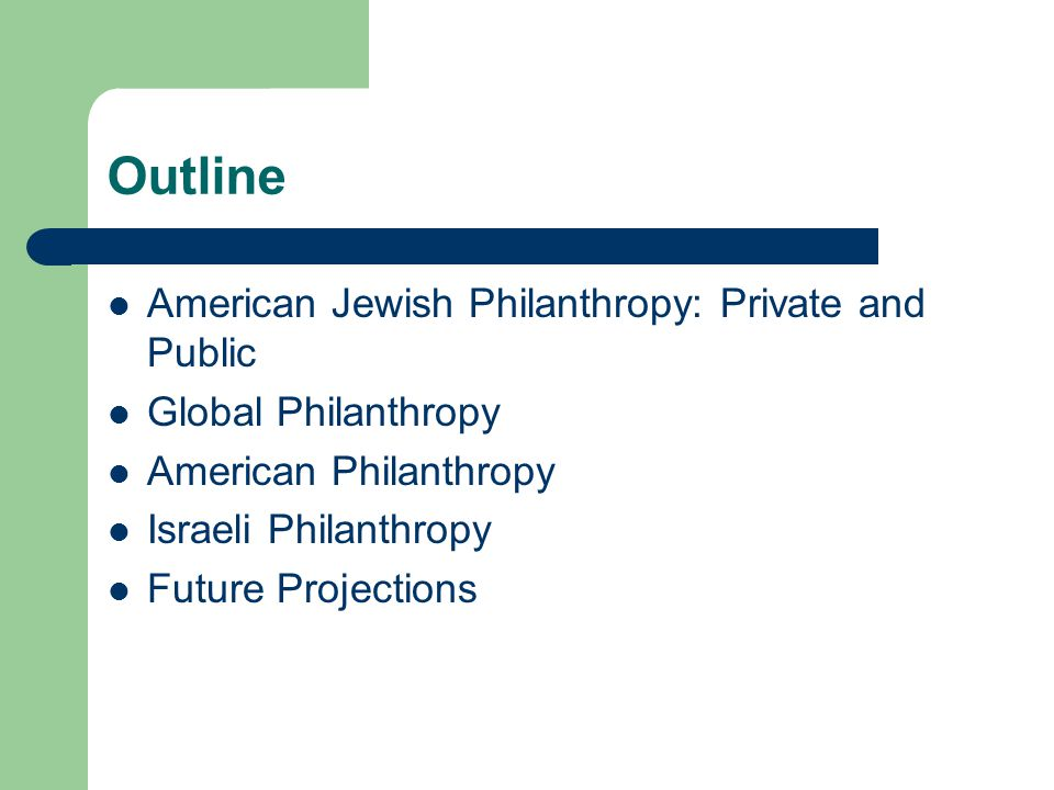 Outline American Jewish Philanthropy: Private and Public Global Philanthropy American Philanthropy Israeli Philanthropy Future Projections
