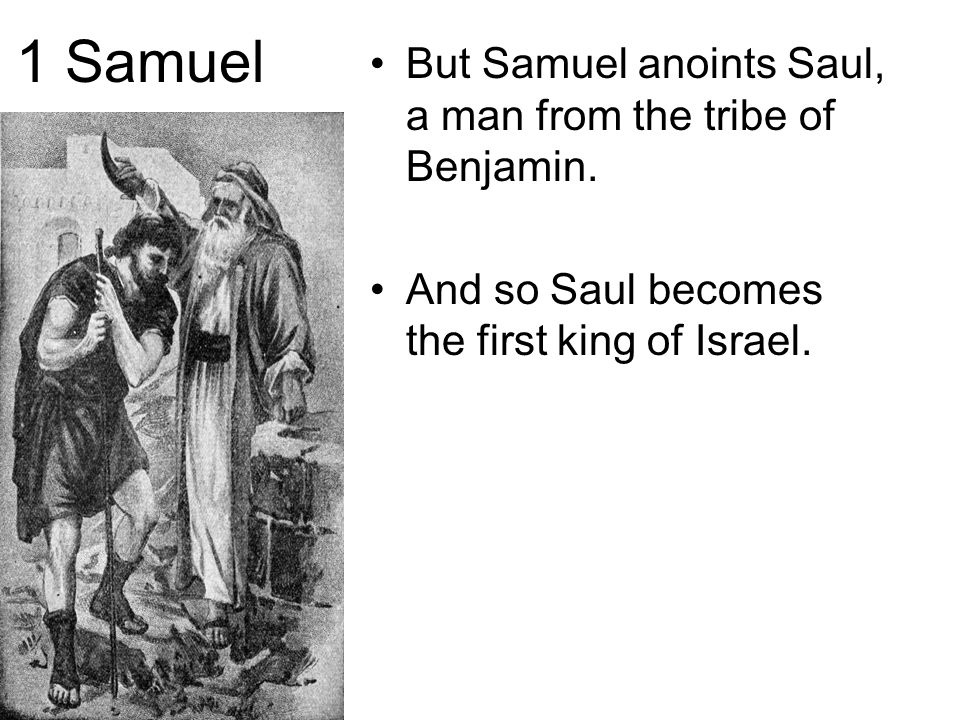 1 Samuel But Samuel anoints Saul, a man from the tribe of Benjamin. And so Saul becomes the first king of Israel.