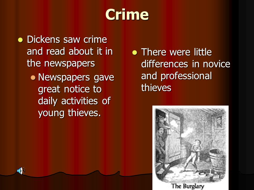 History Oliver Twist appeared in Bentley's Miscellany Oliver Twist appeared in Bentley's Miscellany Dickens' interest in crime and criminals Dickens' interest in crime and criminals Oliver Twist reflected on juvenile crime Oliver Twist reflected on juvenile crime Thieving done by juveniles kept pace with legitimate businesses Thieving done by juveniles kept pace with legitimate businesses
