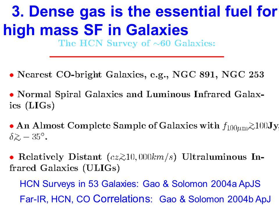 3. Dense gas is the essential fuel for high mass SF in Galaxies HCN Surveys in 53 Galaxies: Gao & Solomon 2004a ApJS Far-IR, HCN, CO Correlations : Ga
