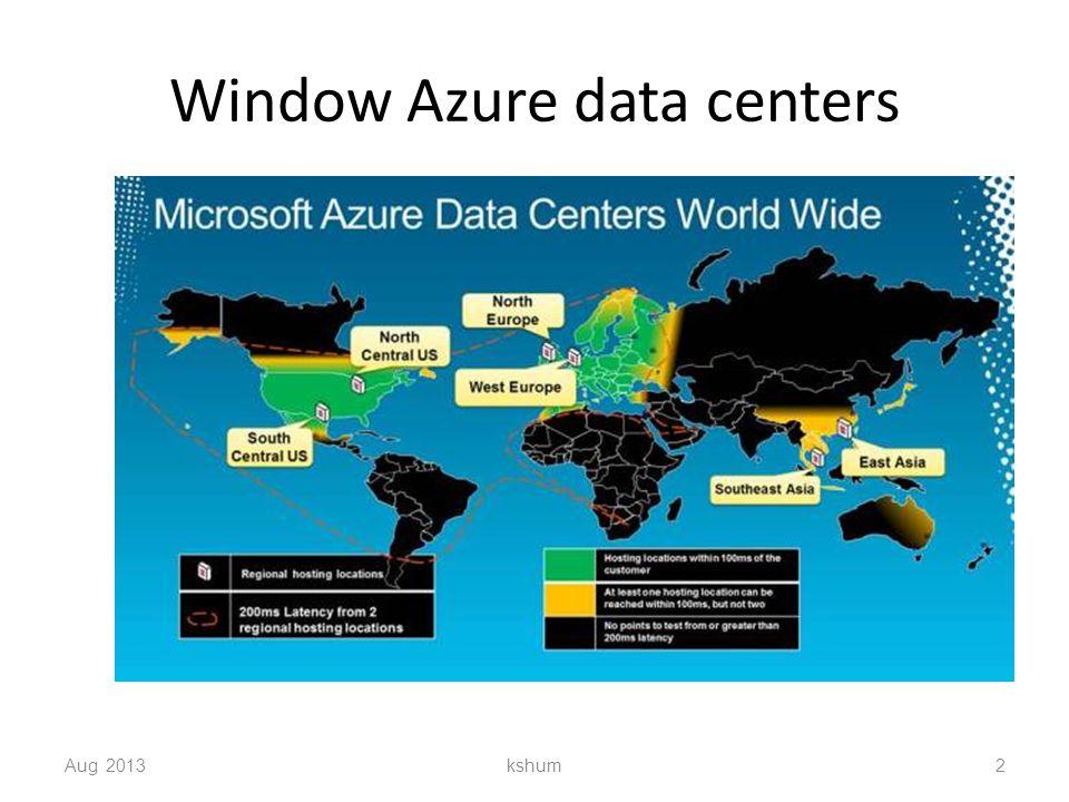 Window Azure data centers Aug 2013 kshum 2