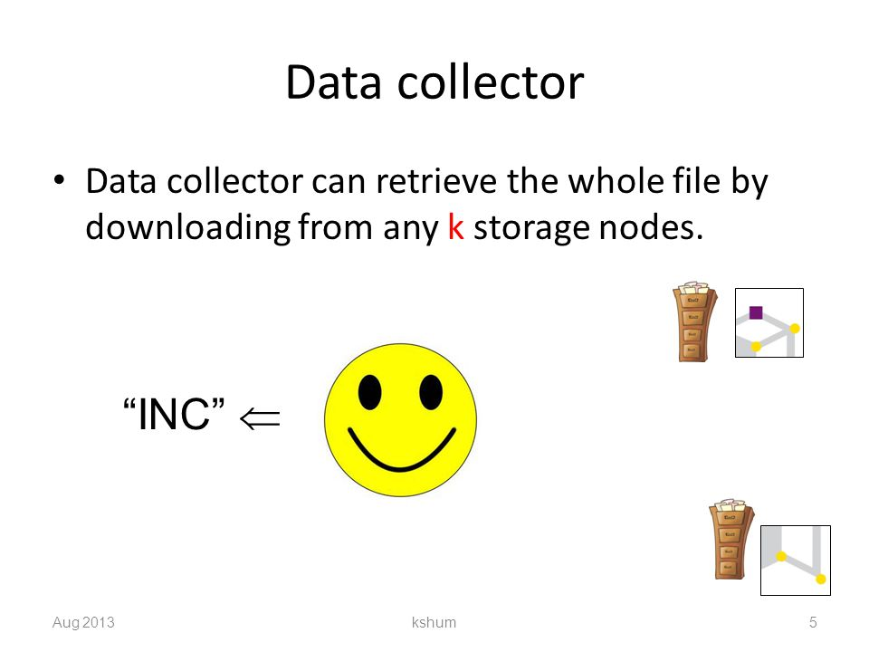 Data collector Data collector can retrieve the whole file by downloading from any k storage nodes.