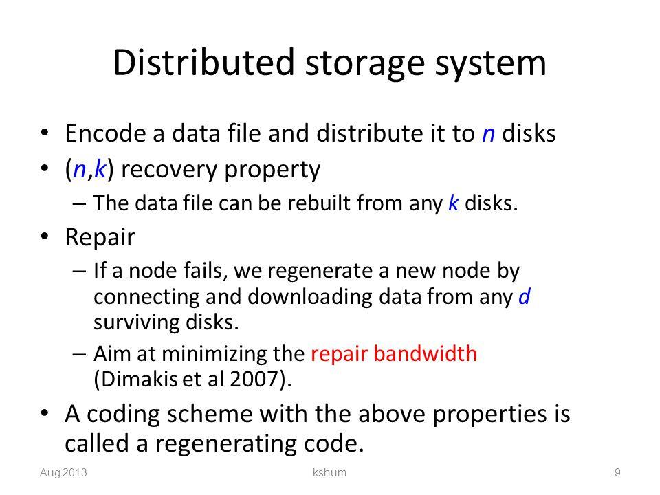 Repetition scheme GFS: Replicate data 3 times Gmail: Replicate data 21 times Aug 2013 kshum 10