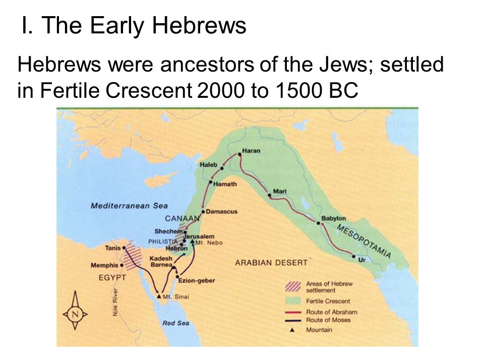 I. The Early Hebrews Hebrews were ancestors of the Jews; settled in Fertile Crescent 2000 to 1500 BC