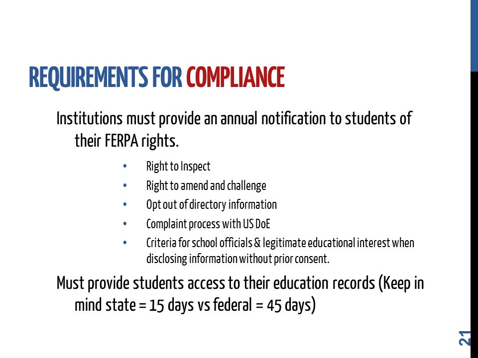 Institutions must provide an annual notification to students of their FERPA rights.
