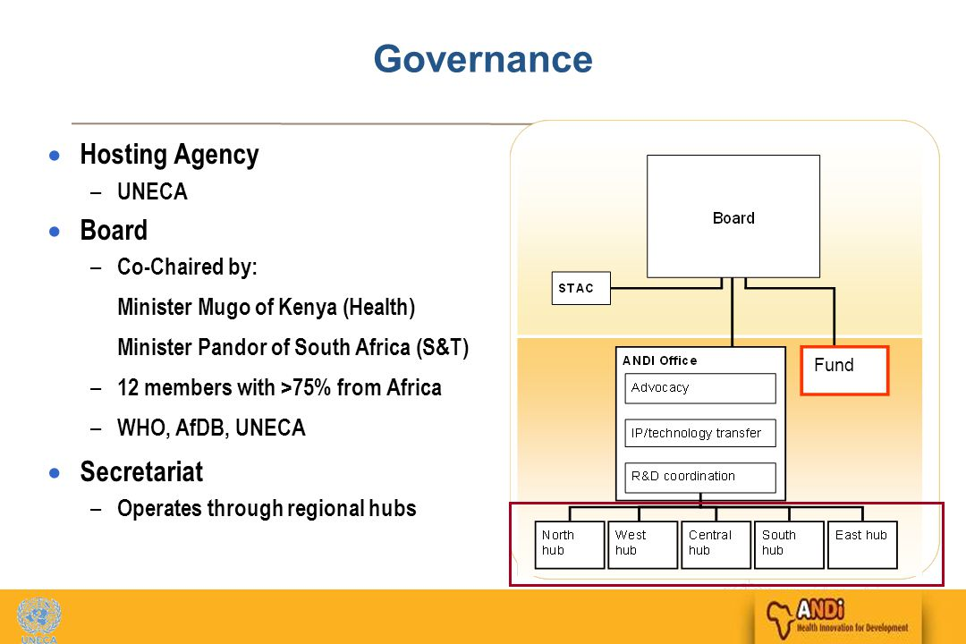 11 Governance  Hosting Agency – UNECA  Board – Co-Chaired by: Minister Mugo of Kenya (Health) Minister Pandor of South Africa (S&T) – 12 members with >75% from Africa – WHO, AfDB, UNECA  Secretariat – Operates through regional hubs Fund