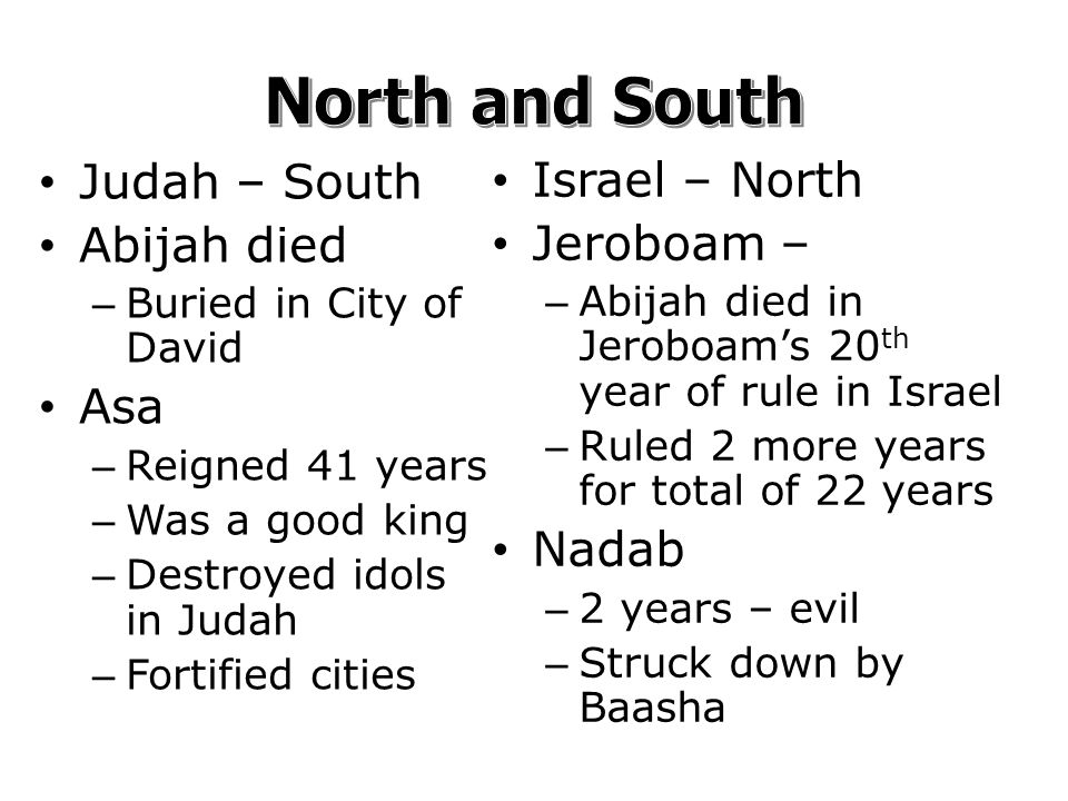 Judah – South Abijah died – Buried in City of David Asa – Reigned 41 years – Was a good king – Destroyed idols in Judah – Fortified cities Israel – North Jeroboam – – Abijah died in Jeroboam's 20 th year of rule in Israel – Ruled 2 more years for total of 22 years Nadab – 2 years – evil – Struck down by Baasha