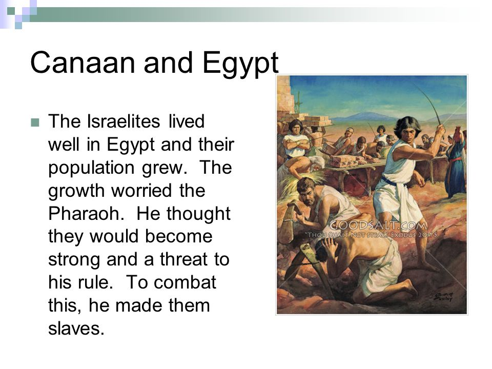 Canaan and Egypt The Israelites lived well in Egypt and their population grew.