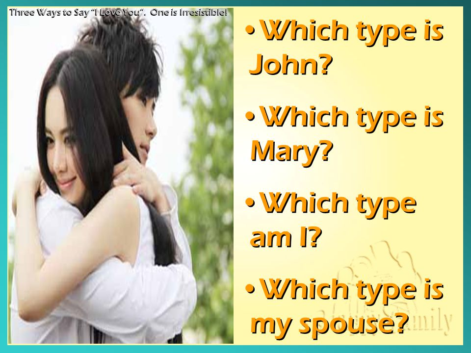 Which type is John? Which type is Mary? Which type am I? Which type is my spouse? Which type is John? Which type is Mary? Which type am I? Which type