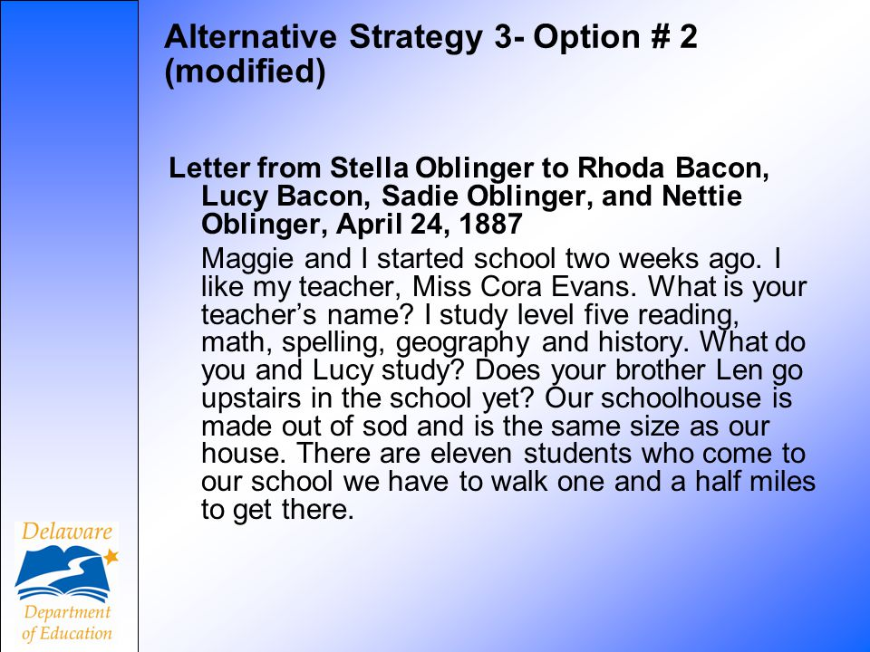 Alternative Strategy 3- Option # 2 (modified) Letter from Stella Oblinger to Rhoda Bacon, Lucy Bacon, Sadie Oblinger, and Nettie Oblinger, April 24, 1