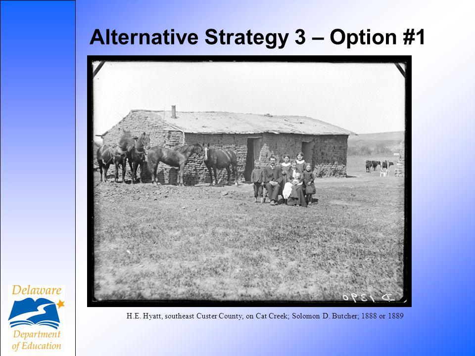 Alternative Strategy 3 – Option #1 H.E. Hyatt, southeast Custer County, on Cat Creek; Solomon D. Butcher; 1888 or 1889