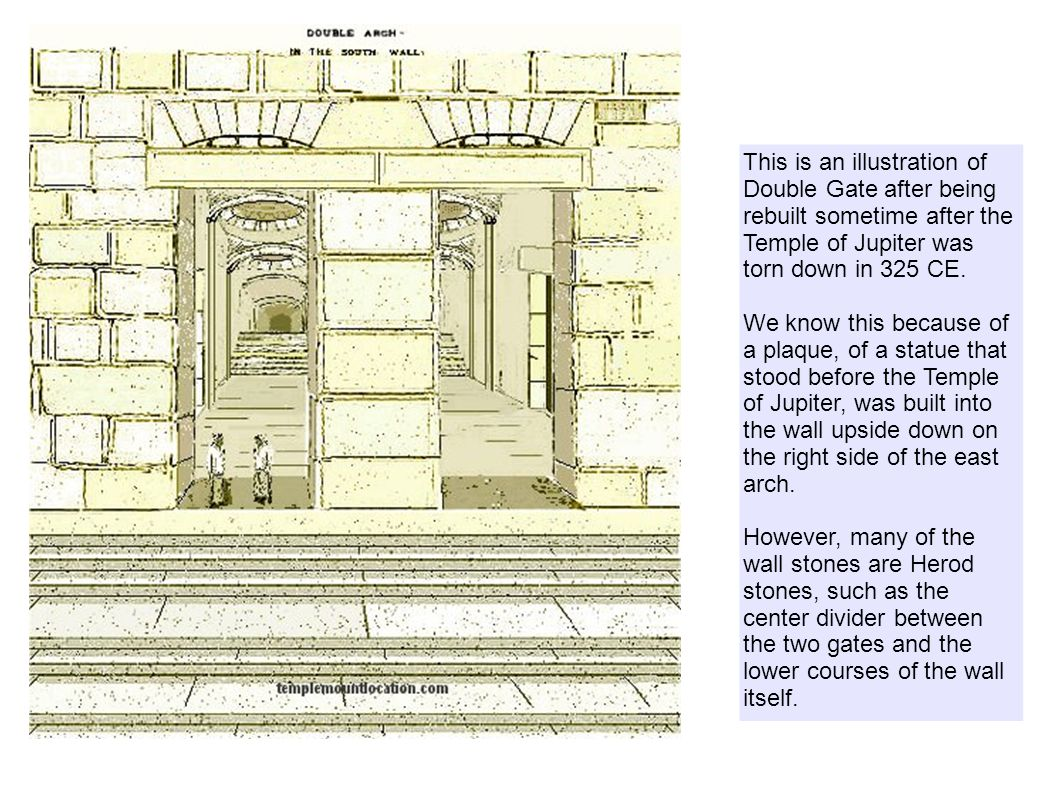 This is an illustration of Double Gate after being rebuilt sometime after the Temple of Jupiter was torn down in 325 CE.