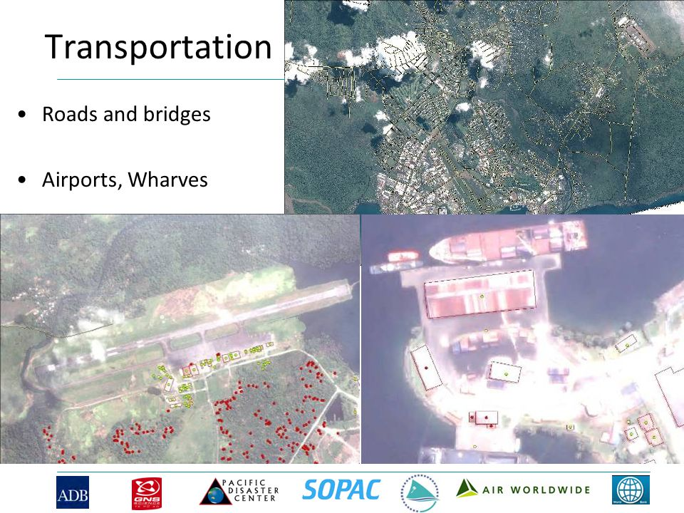 Transportation Roads and bridges Airports, Wharves