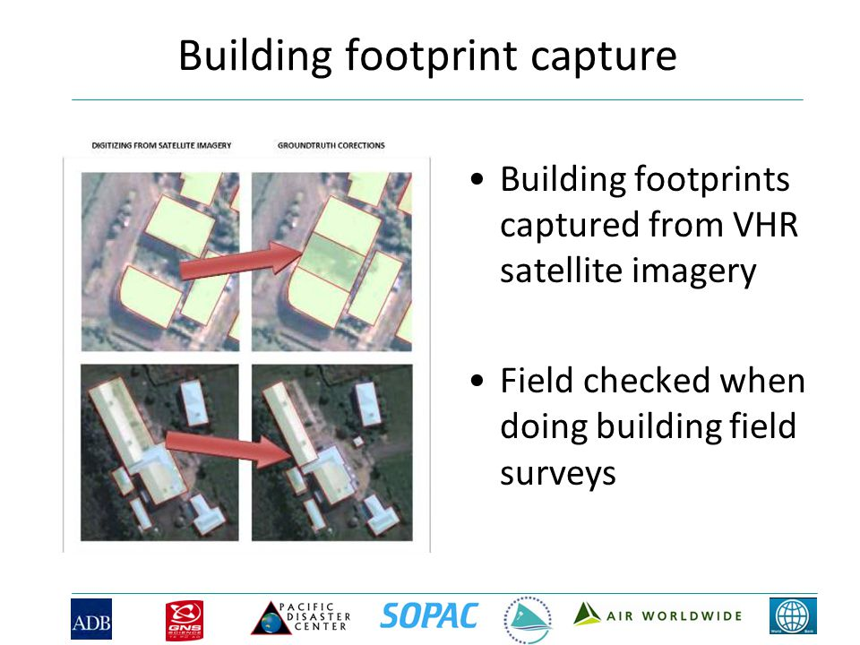 Building footprint capture Building footprints captured from VHR satellite imagery Field checked when doing building field surveys