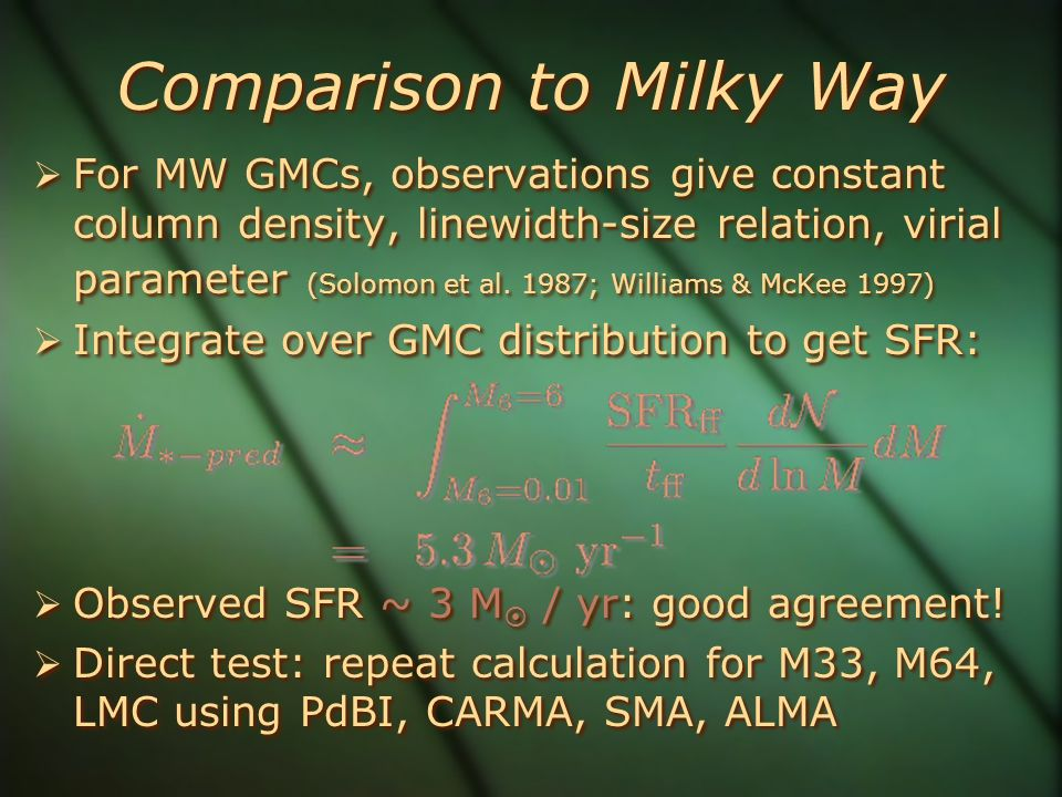 Comparison to Milky Way  For MW GMCs, observations give constant column density, linewidth-size relation, virial parameter (Solomon et al. 1987; Will