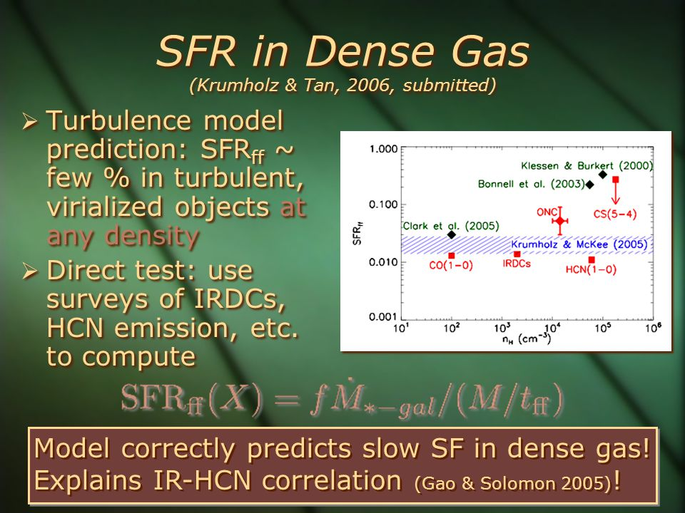 SFR in Dense Gas (Krumholz & Tan, 2006, submitted)  Turbulence model prediction: SFR ff ~ few % in turbulent, virialized objects at any density  Dir