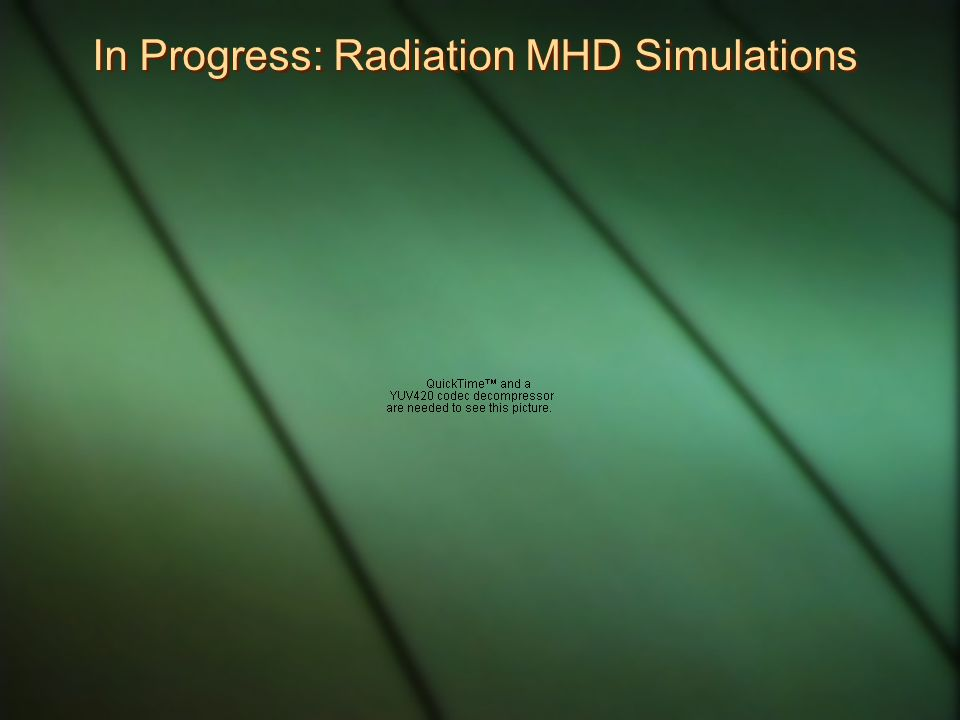 In Progress: Radiation MHD Simulations