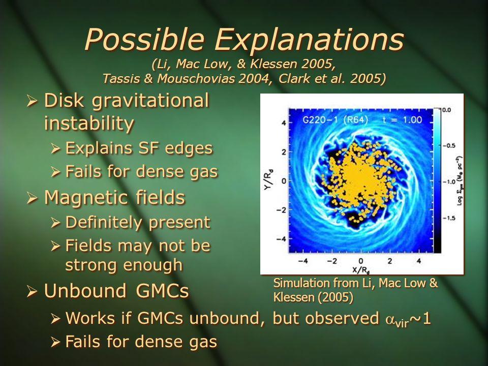 Possible Explanations (Li, Mac Low, & Klessen 2005, Tassis & Mouschovias 2004, Clark et al.
