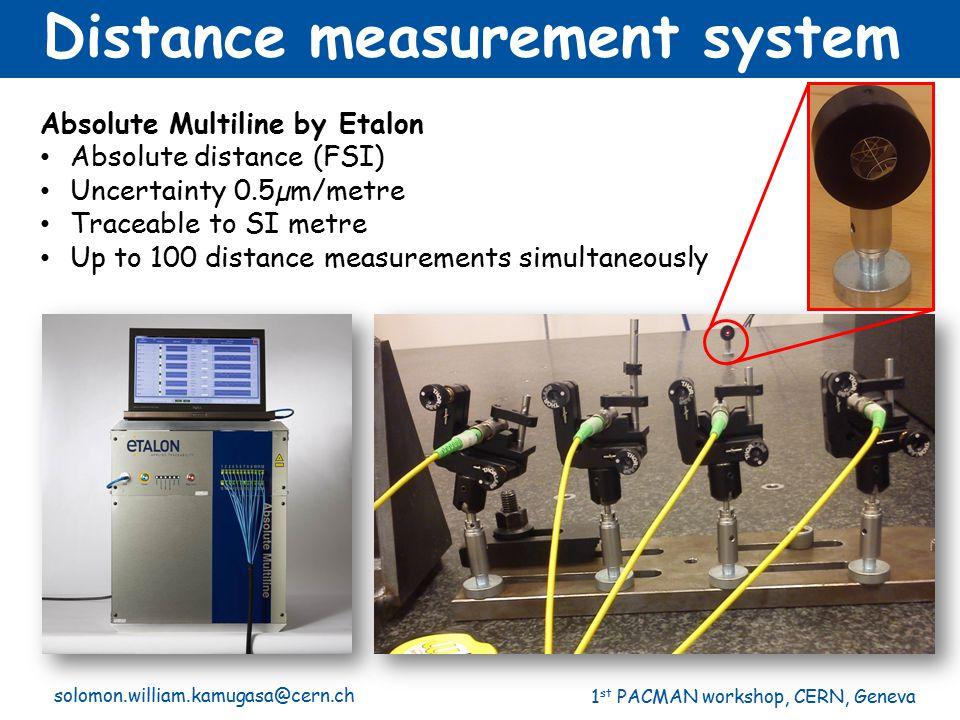 1 st PACMAN workshop, CERN, Geneva solomon.william.kamugasa@cern.ch Distance measurement system Absolute Multiline by Etalon Absolute distance (FSI) U