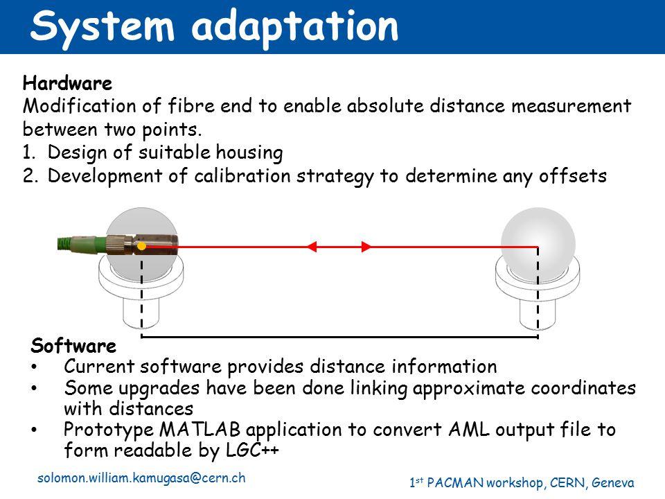 1 st PACMAN workshop, CERN, Geneva solomon.william.kamugasa@cern.ch System adaptation Software Current software provides distance information Some upg