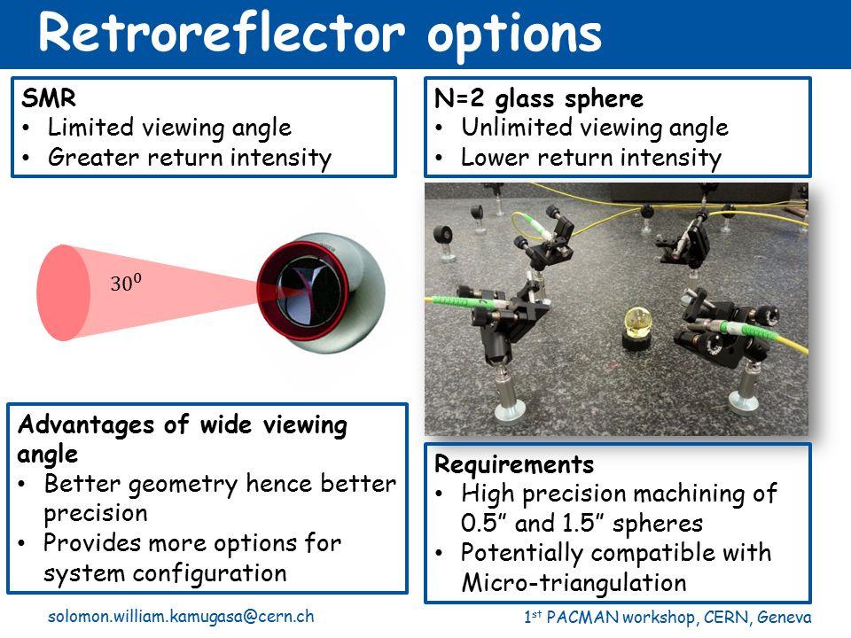 1 st PACMAN workshop, CERN, Geneva N=2 glass sphere Unlimited viewing angle Lower return intensity SMR Limited viewing angle Greater return intensity