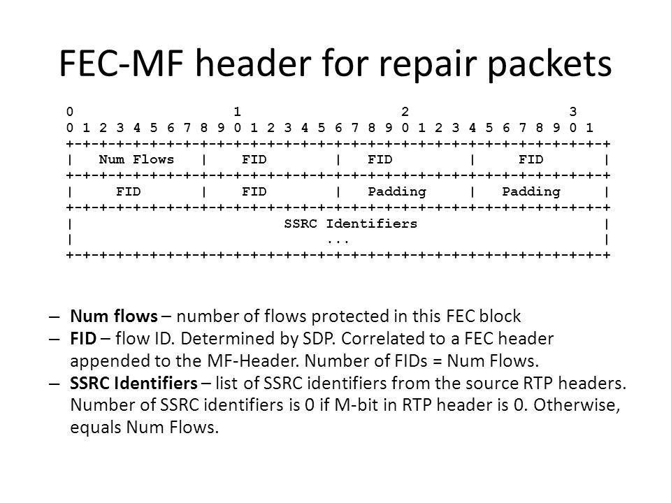 FEC-MF header for repair packets 0 1 2 3 0 1 2 3 4 5 6 7 8 9 0 1 2 3 4 5 6 7 8 9 0 1 2 3 4 5 6 7 8 9 0 1 +-+-+-+-+-+-+-+-+-+-+-+-+-+-+-+-+-+-+-+-+-+-+-+-+-+-+-+-+-+-+-+-+ | Num Flows | FID | FID | FID | +-+-+-+-+-+-+-+-+-+-+-+-+-+-+-+-+-+-+-+-+-+-+-+-+-+-+-+-+-+-+-+-+ | FID | FID | Padding | Padding | +-+-+-+-+-+-+-+-+-+-+-+-+-+-+-+-+-+-+-+-+-+-+-+-+-+-+-+-+-+-+-+-+ | SSRC Identifiers | |...