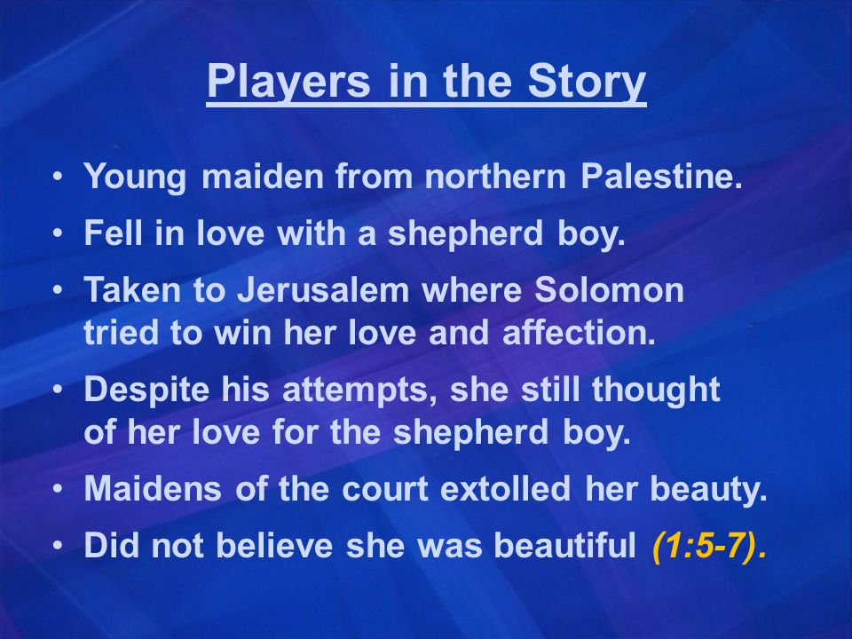 Players in the Story Young maiden from northern Palestine.