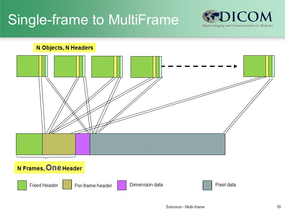 Single-frame to MultiFrame N Objects, N Headers N Frames, One Header Pixel dataDimension data Per-frame header Fixed Header Solomon - Multi-frame10
