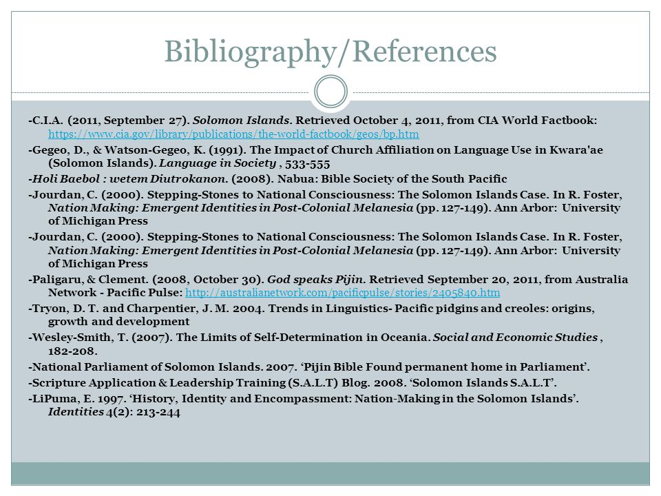 Bibliography/References -C.I.A. (2011, September 27).