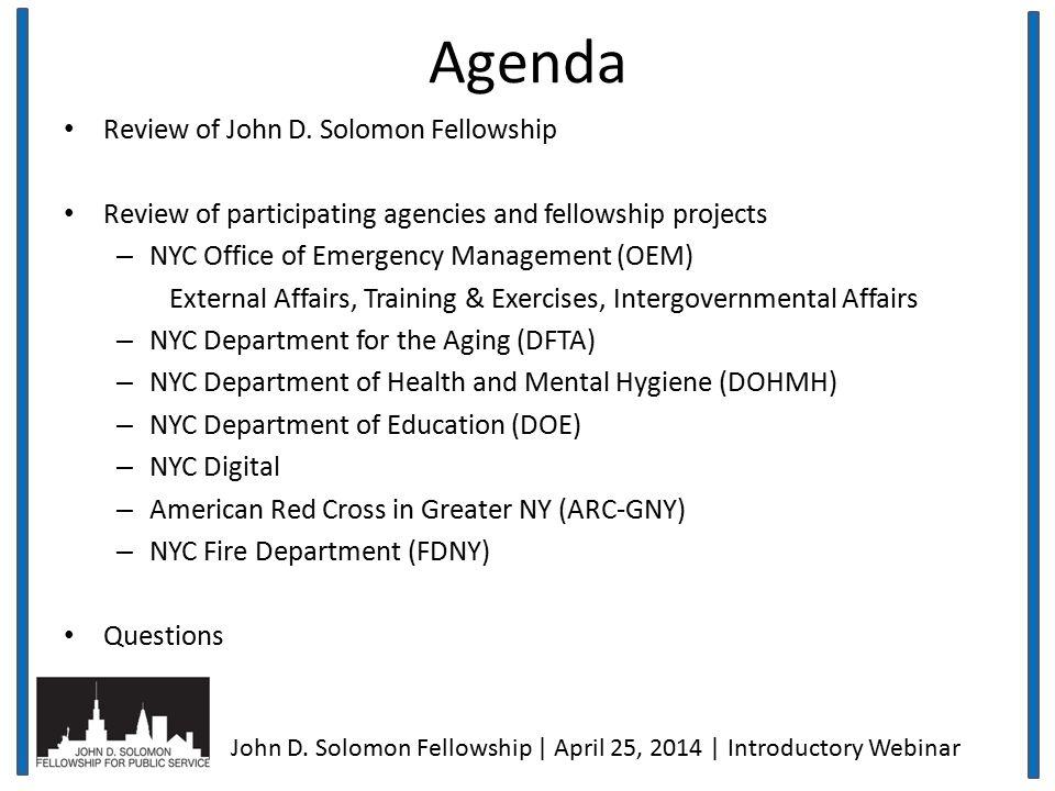 Agenda Review of John D.