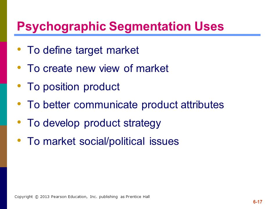 6-17 Copyright © 2013 Pearson Education, Inc. publishing as Prentice Hall Psychographic Segmentation Uses To define target market To create new view o